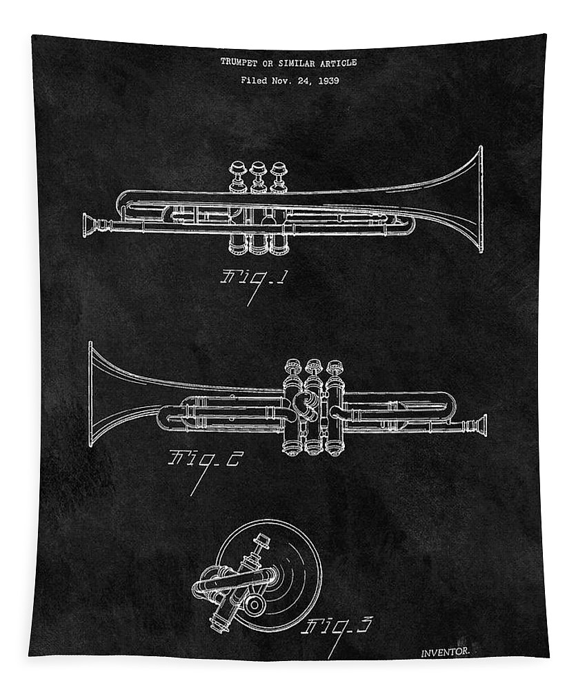 1940 Trumpet Patent Tapestry featuring the drawing 1940 Trumpet Patent Illustration by Dan Sproul
