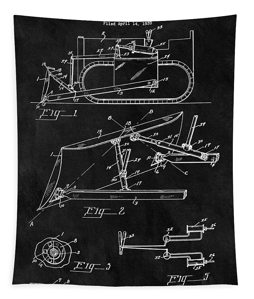 Vintage Bulldozer Patent Tapestry featuring the drawing 1941 Construction Bulldozer by Dan Sproul