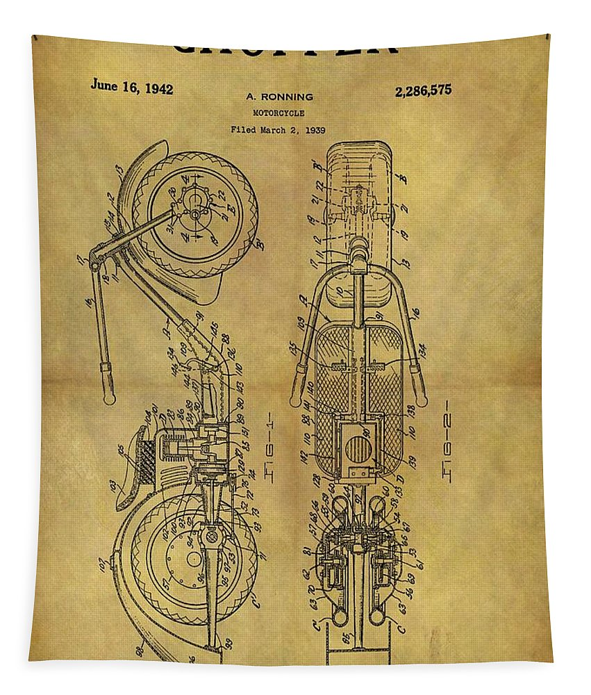 1942 Chopper Motorcycle Patent Tapestry featuring the mixed media 1942 Chopper Motorcycle Patent by Dan Sproul