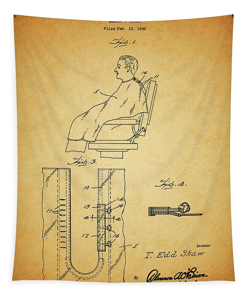Barber's Apron Tapestry featuring the drawing 1943 Barber Apron Patent by Dan Sproul