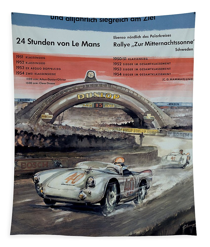 24 Hours Of Le Mans Tapestry featuring the digital art 1950 Porsche Le mans Poster by Georgia Fowler