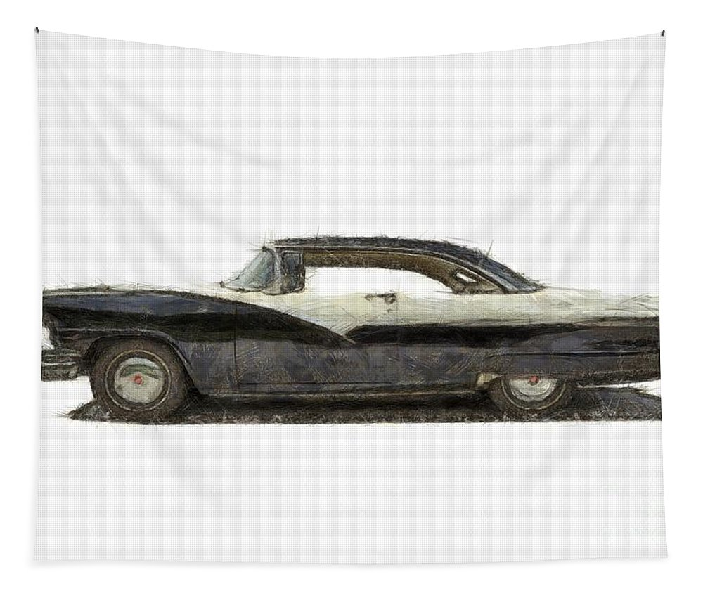 Ford Tapestry featuring the photograph 1950s Ford Fairlane Crown Victoria Pencil by Edward Fielding