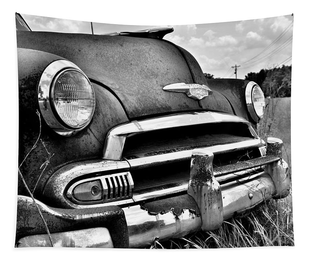 1951 Chevrolet Power Glide Black And White 3 Tapestry featuring the photograph 1951 Chevrolet Power Glide Black And White 3 by Lisa Wooten