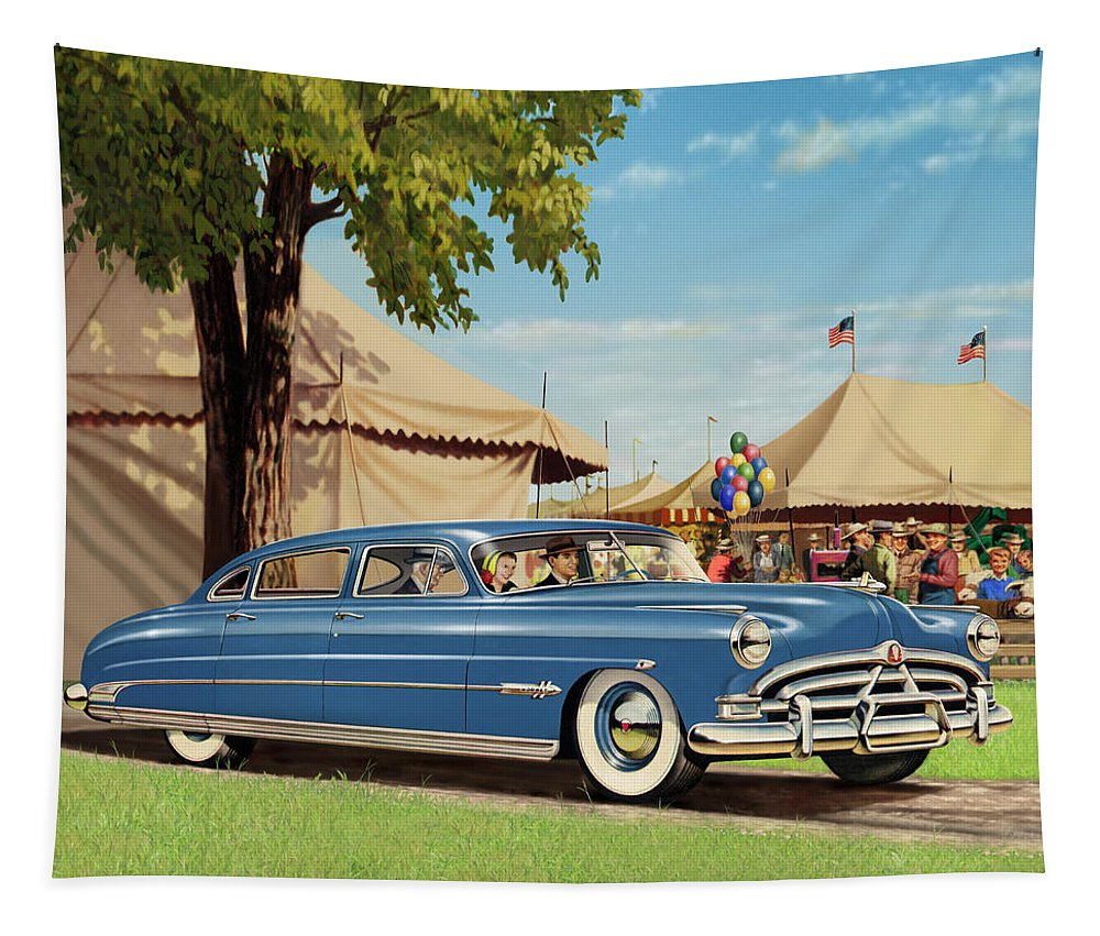 Squre Format Tapestry featuring the digital art 1951 Hudson Hornet - Square Format - Antique Car Auto - Nostalgic Rural Country Scene Painting by Walt Curlee