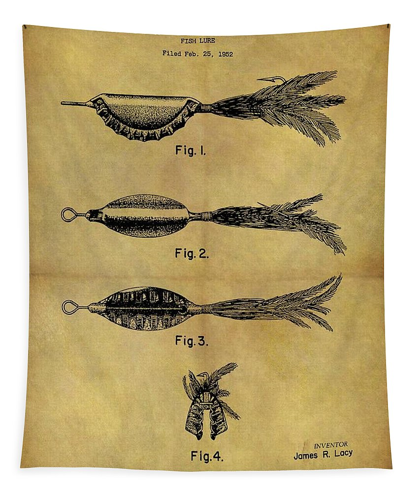 1952 Fish Lure Patent Tapestry featuring the mixed media 1952 Fish Lure Patent by Dan Sproul