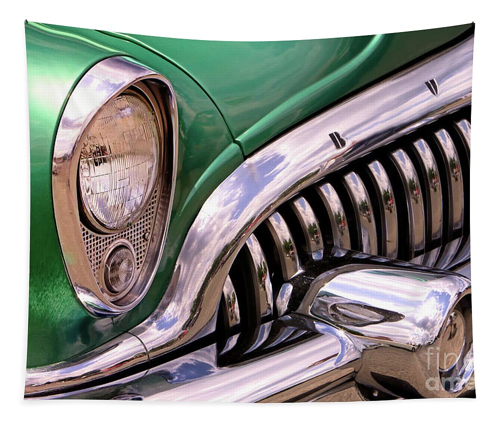 Car Tapestry featuring the photograph 1953 Buick Chrome by Jerry Fornarotto