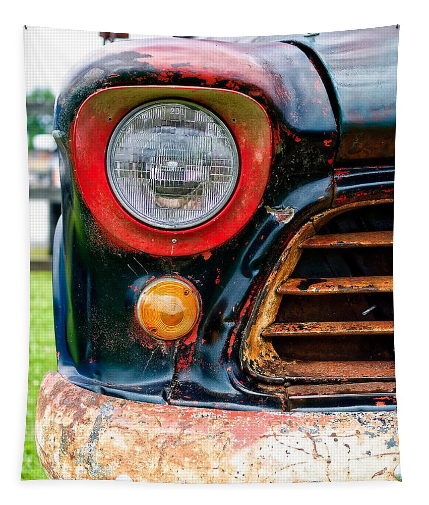 Chevrolet Tapestry featuring the photograph 1956 Chevy 3200 Pickup Grill Detail 1956 by Jon Woodhams