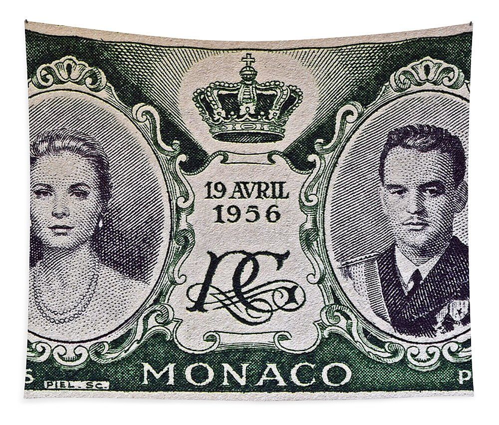 1956 Tapestry featuring the photograph 1956 Princess Grace Of Monaco Stamp II by Bill Owen