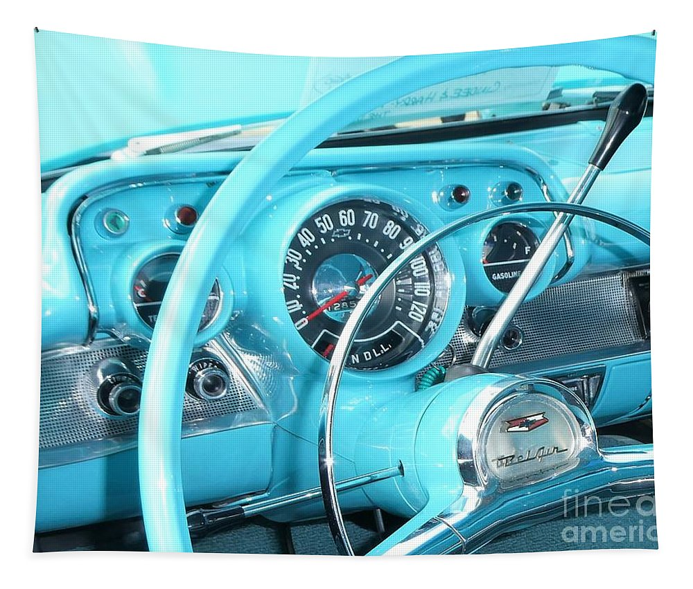 Car Tapestry featuring the photograph 1957 Chevrolet by Neil Zimmerman