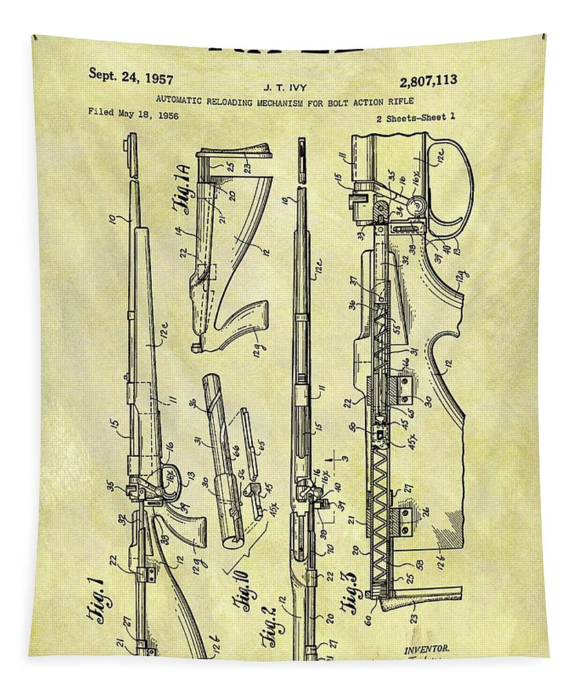 1957 Rifle Patent Tapestry featuring the drawing 1957 Rifle Patent by Dan Sproul