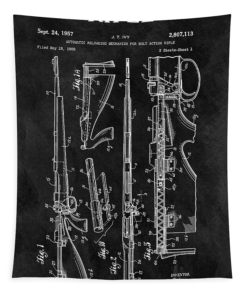 1957 Rifle Patent Tapestry featuring the drawing 1957 Rifle Patent Illustration by Dan Sproul