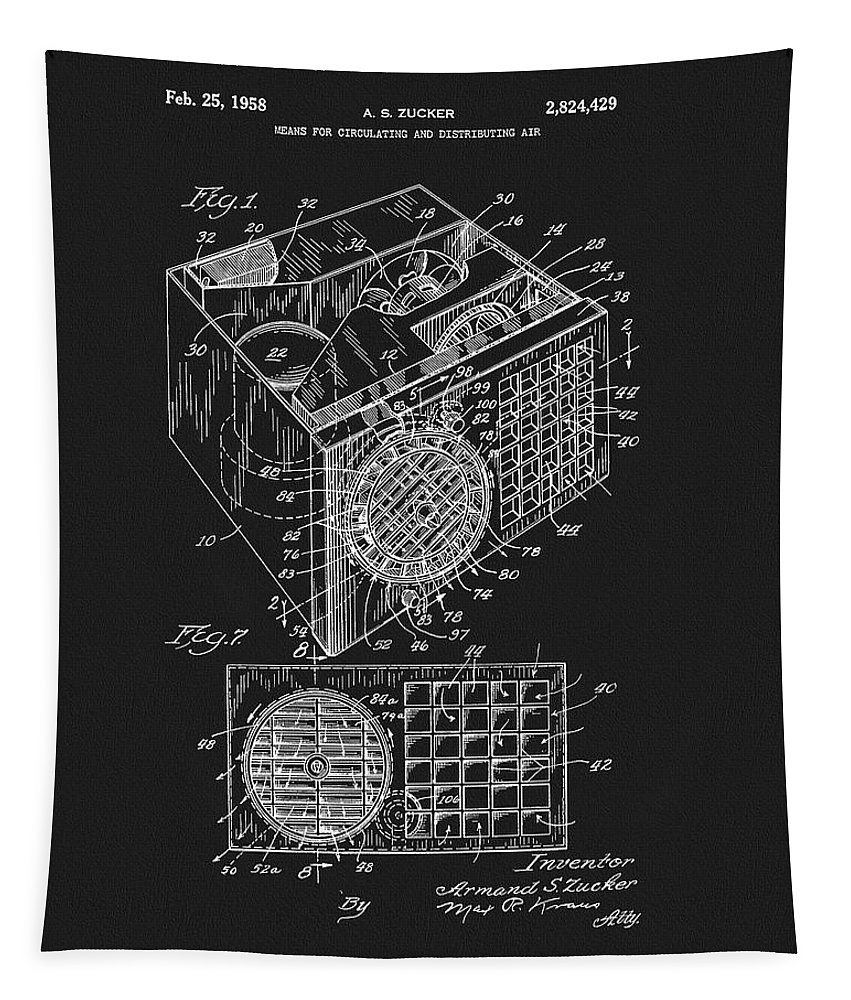 1958 Air Conditioner Patent Tapestry featuring the drawing 1958 Air Conditioner Patent by Dan Sproul