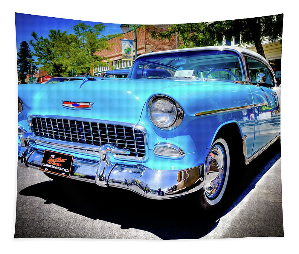 1955 Chevy Baby Blue Tapestry featuring the photograph 1955 Chevy Baby Blue by David Patterson