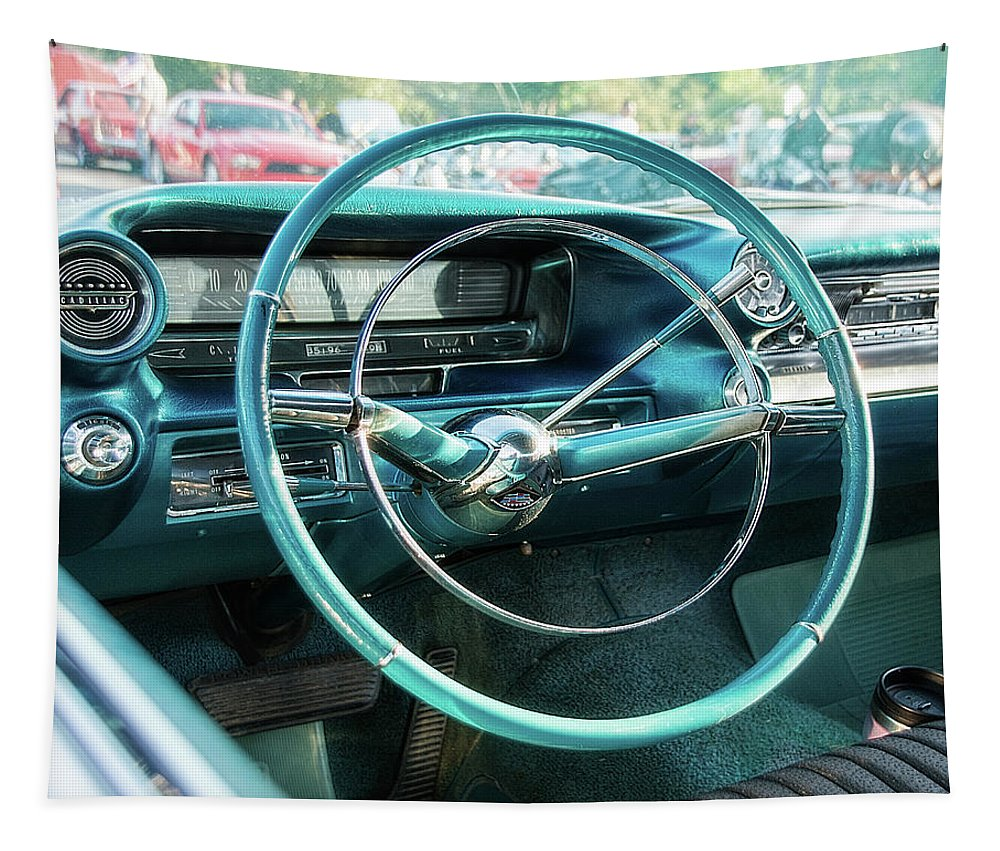 1950s Tapestry featuring the photograph 1959 Cadillac Sedan Deville Series 62 Dashboard by Jon Woodhams