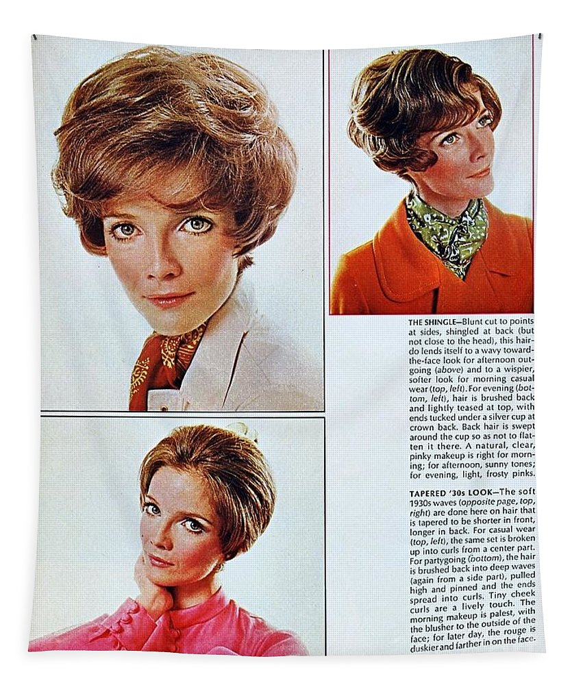 1960 70 Stylish Female Tapestry featuring the photograph 1960 70 Stylish Female Hair Styles Brown Mature Lady by R Muirhead Art