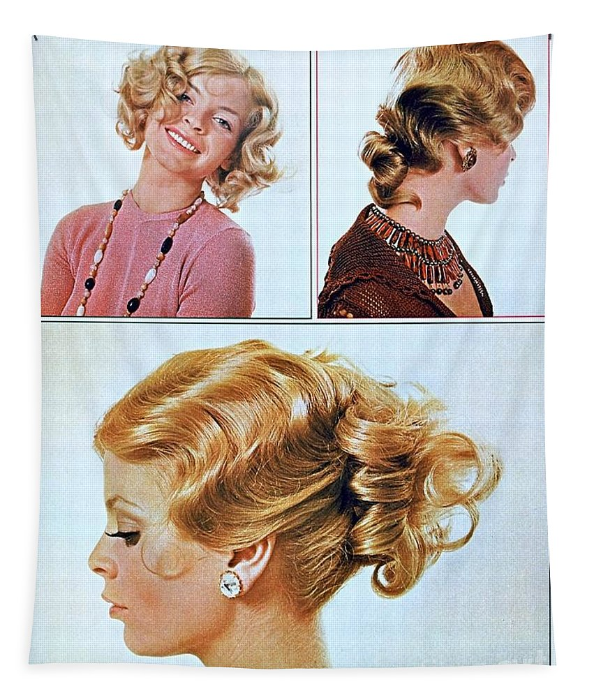 1960 70 Stylish Female Hair Styles Golden Blond Tapestry featuring the photograph 1960 70 Stylish Female Hair Styles Golden Blond by R Muirhead Art
