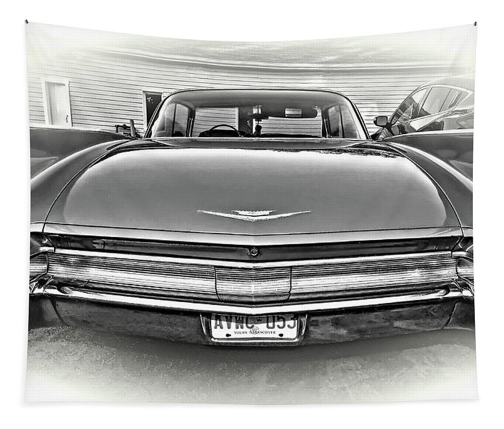 Coupe De Ville Tapestry featuring the photograph 1960 Cadillac - Vignette Bw by Steve Harrington