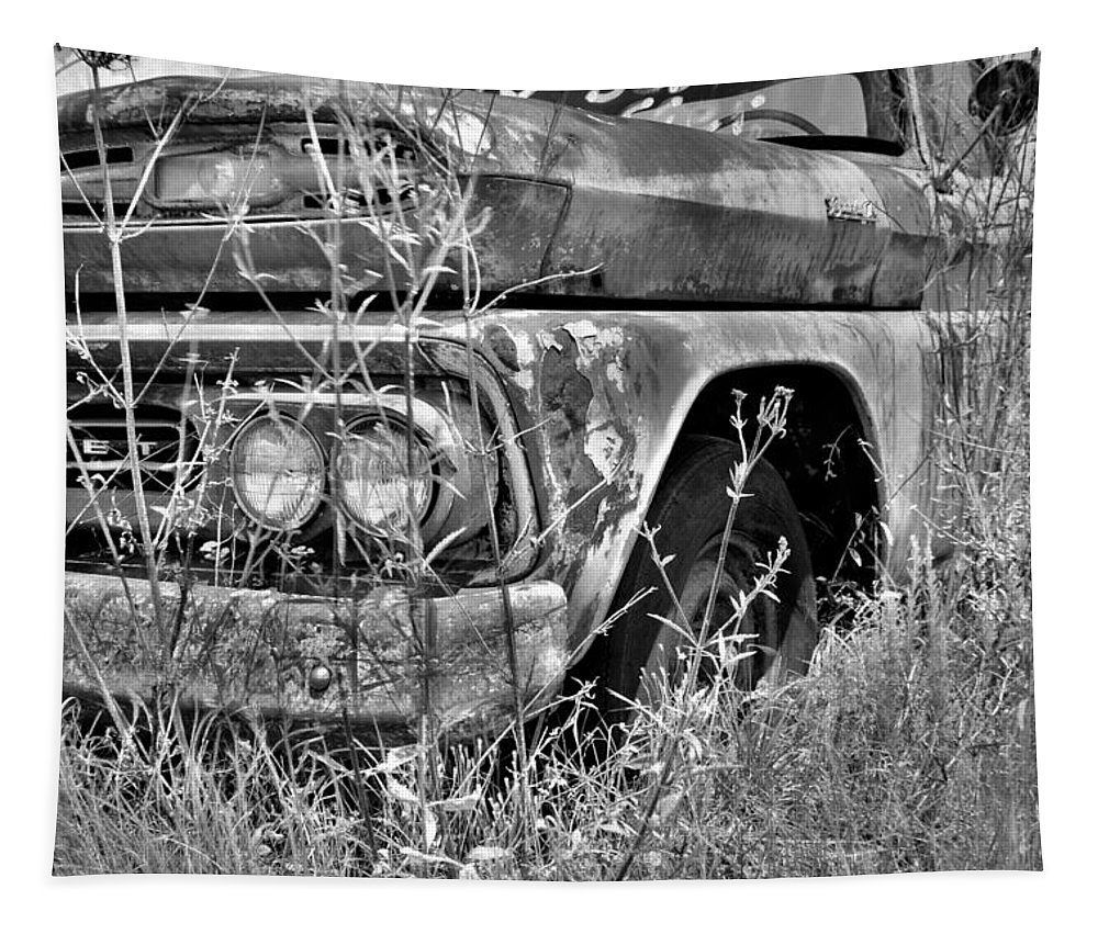 1961 Chevrolet Apache 10 Black And White 4 Tapestry featuring the photograph 1961 Chevrolet Apache 10 Black And White 4 by Lisa Wooten