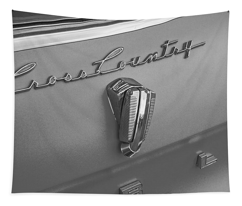 1961 Tapestry featuring the photograph 1961 Rambler Emblem B And W by Nick Gray