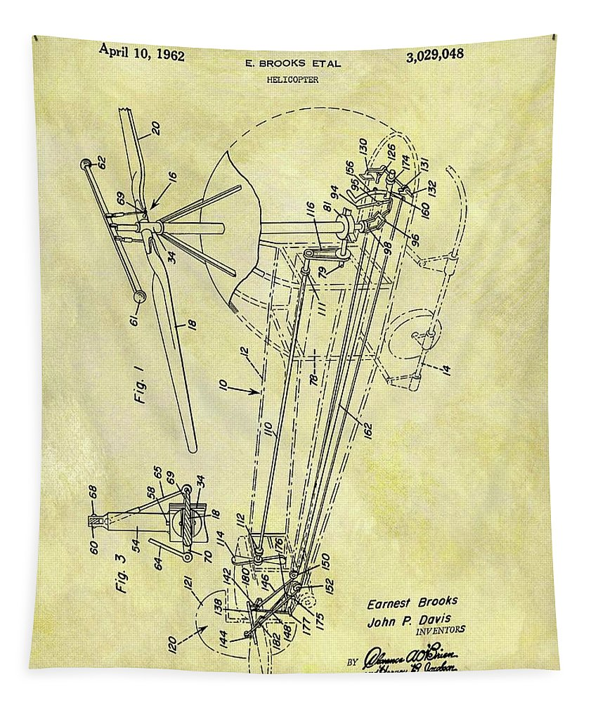 1962 Helicopter Patent Tapestry featuring the drawing 1962 Helicopter Patent by Dan Sproul