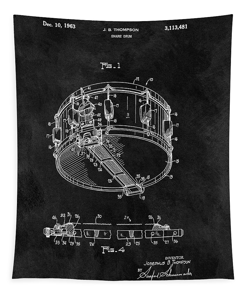 1963 Snare Drum Patent Tapestry featuring the drawing 1963 Snare Drum Patent by Dan Sproul
