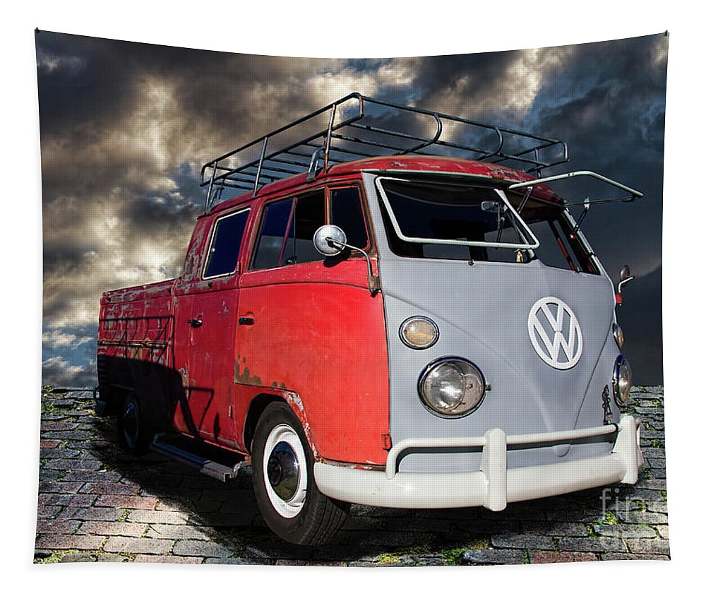 1963 Tapestry featuring the photograph 1963 Volkswagen Double Cab Truck by Nick Gray