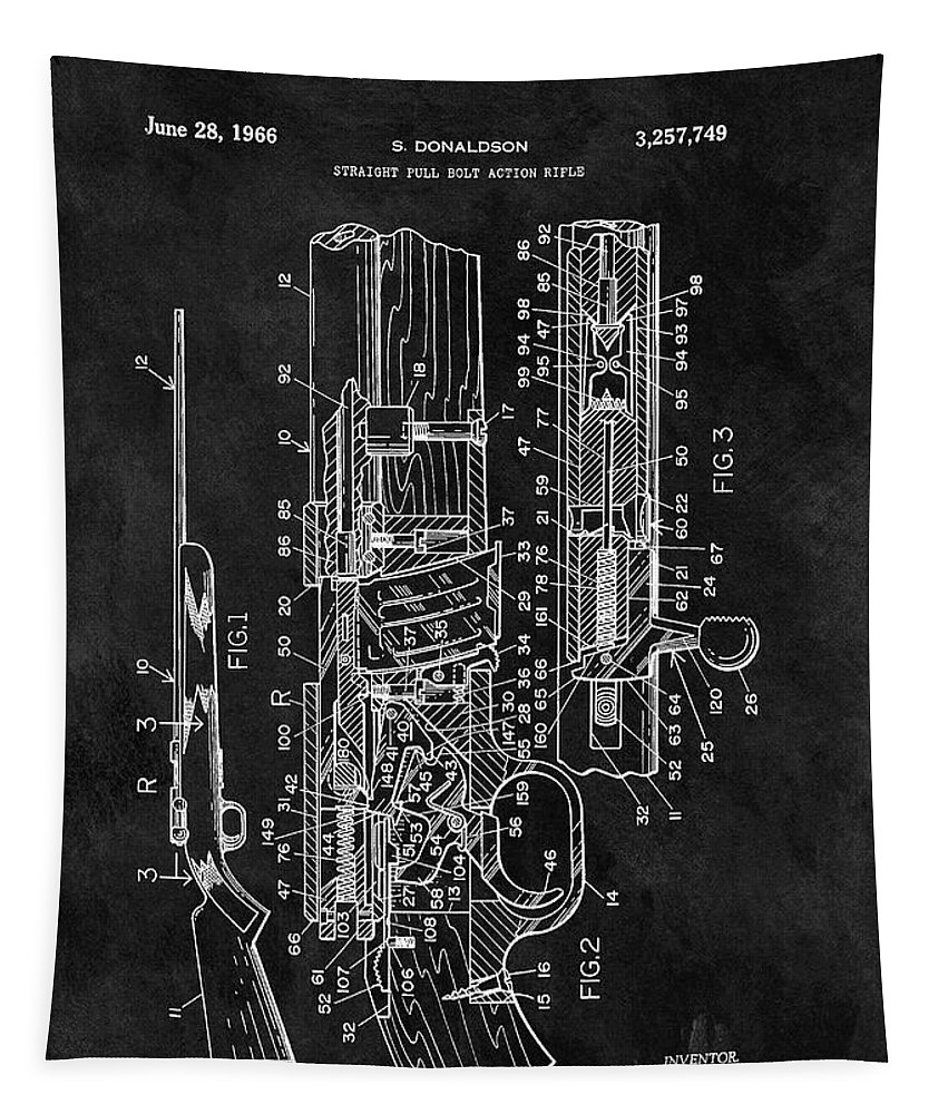 1966 Rifle Patent Tapestry featuring the drawing 1966 Bolt Action Rifle Patent by Dan Sproul