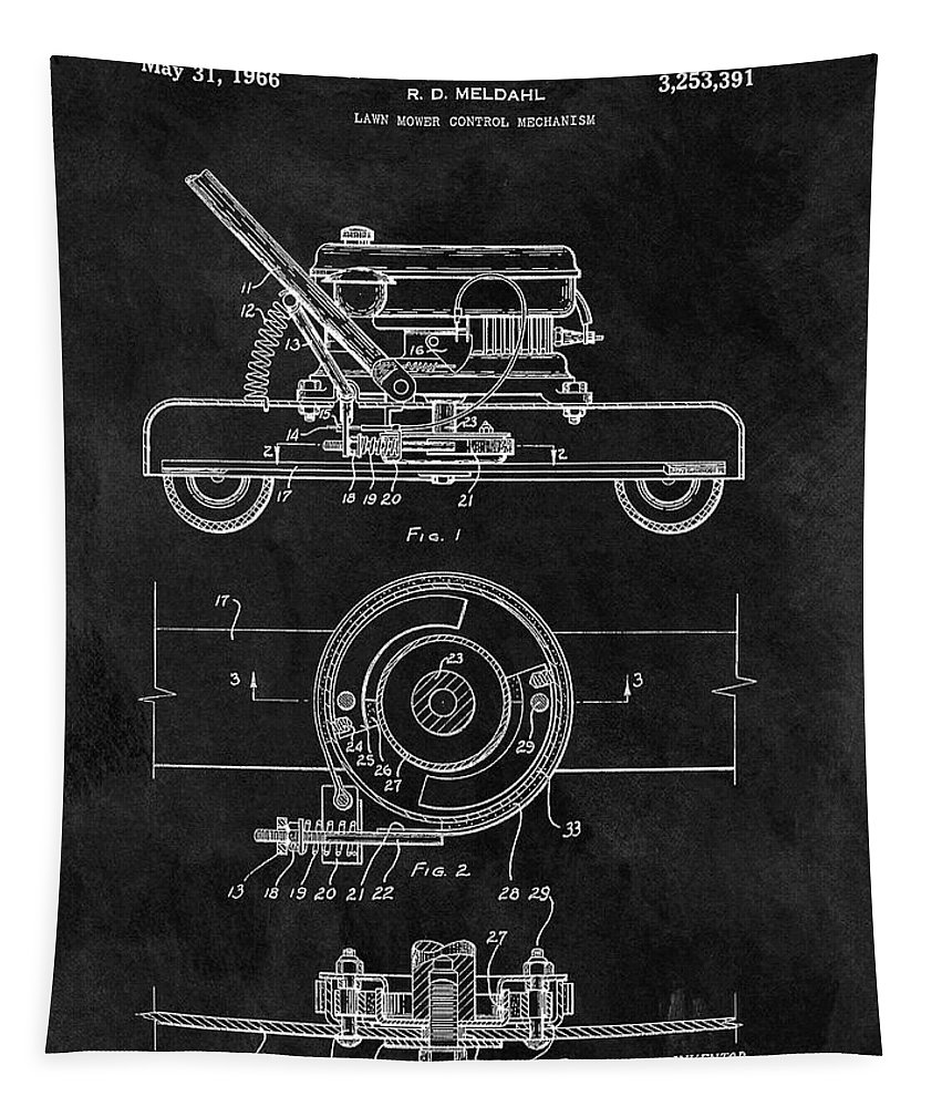 1966 Lawn Mower Patent Tapestry featuring the drawing 1966 Lawn Mower Patent Image by Dan Sproul