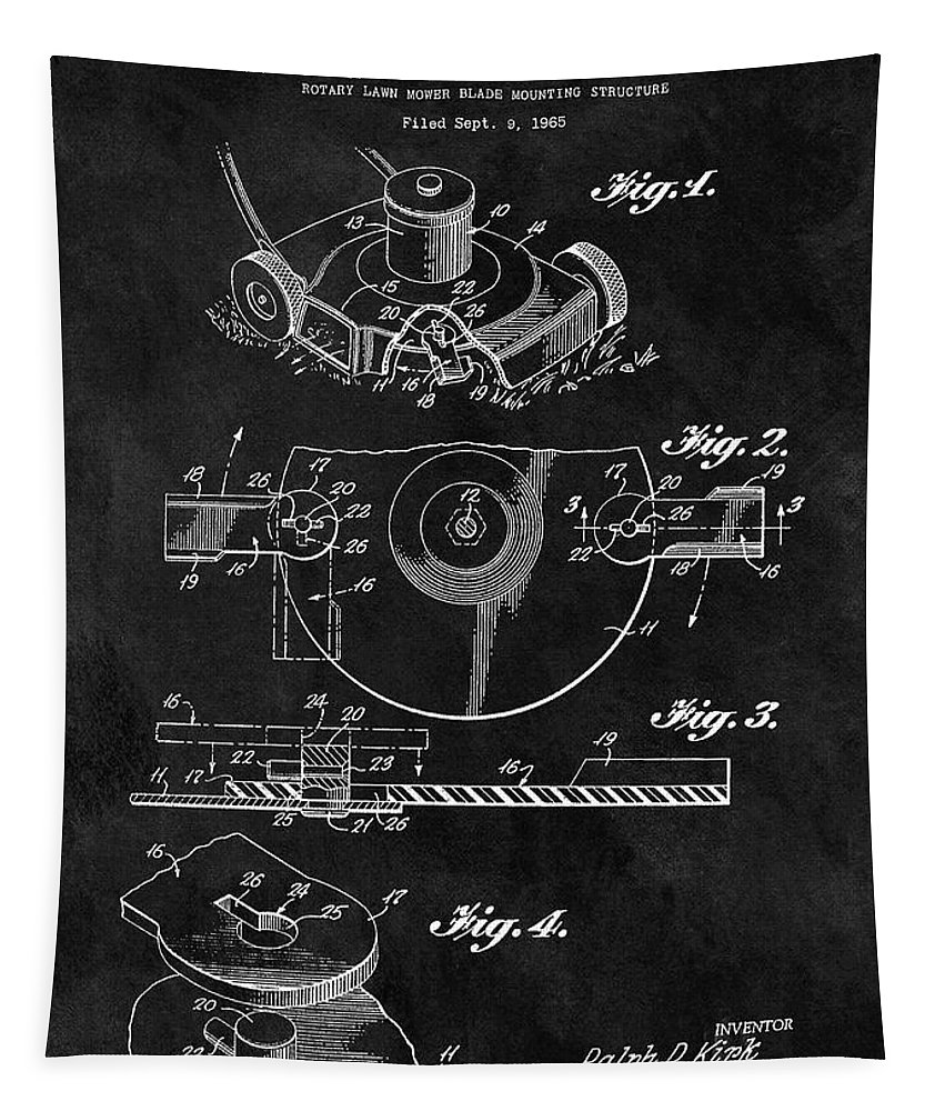 1967 Lawn Mower Patent Tapestry featuring the drawing 1967 Lawn Mower Patent Illustration by Dan Sproul