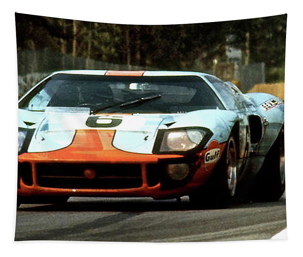 1969 Tapestry featuring the mixed media 1969 24 Hours Of Le Mans Ford Gt40 First Place, Mixed Media by Thomas Pollart