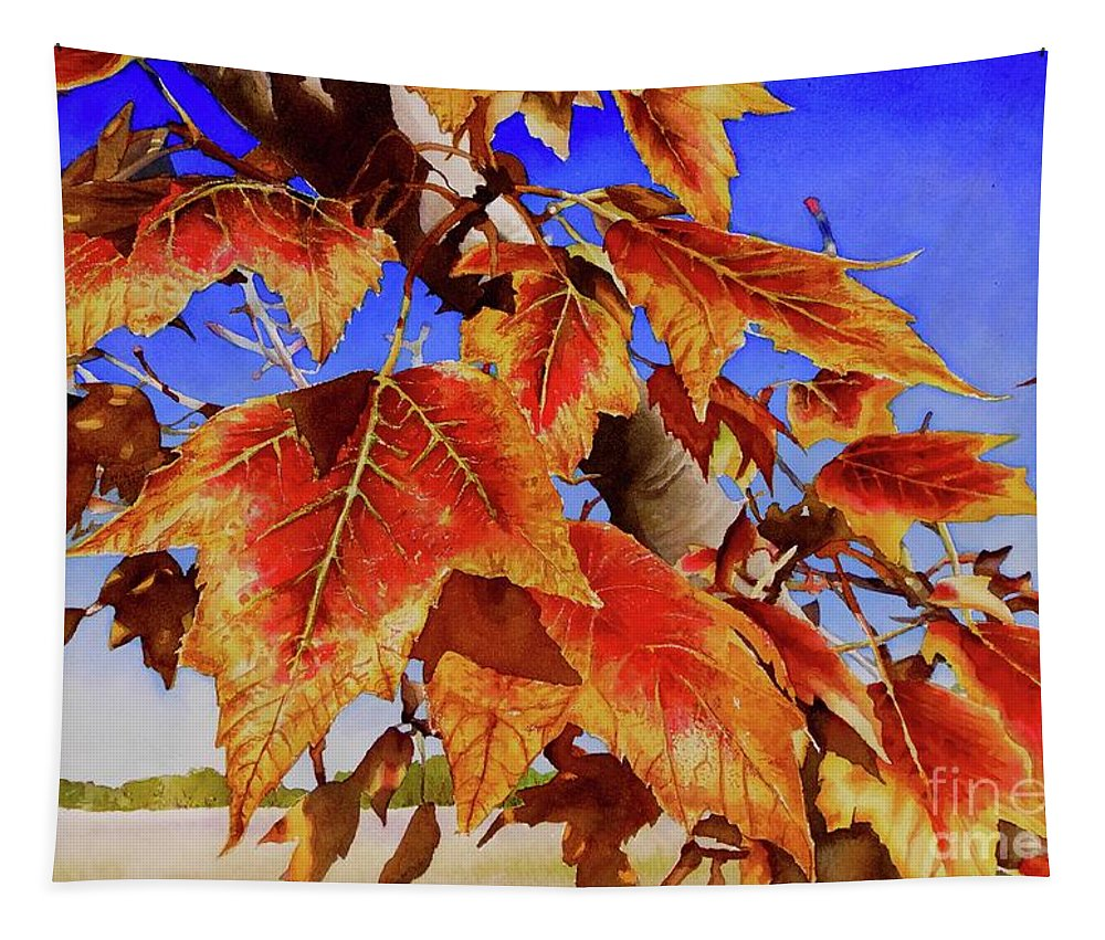 Red Maple Leaves Tapestry featuring the painting #199 Red Maple by William Lum