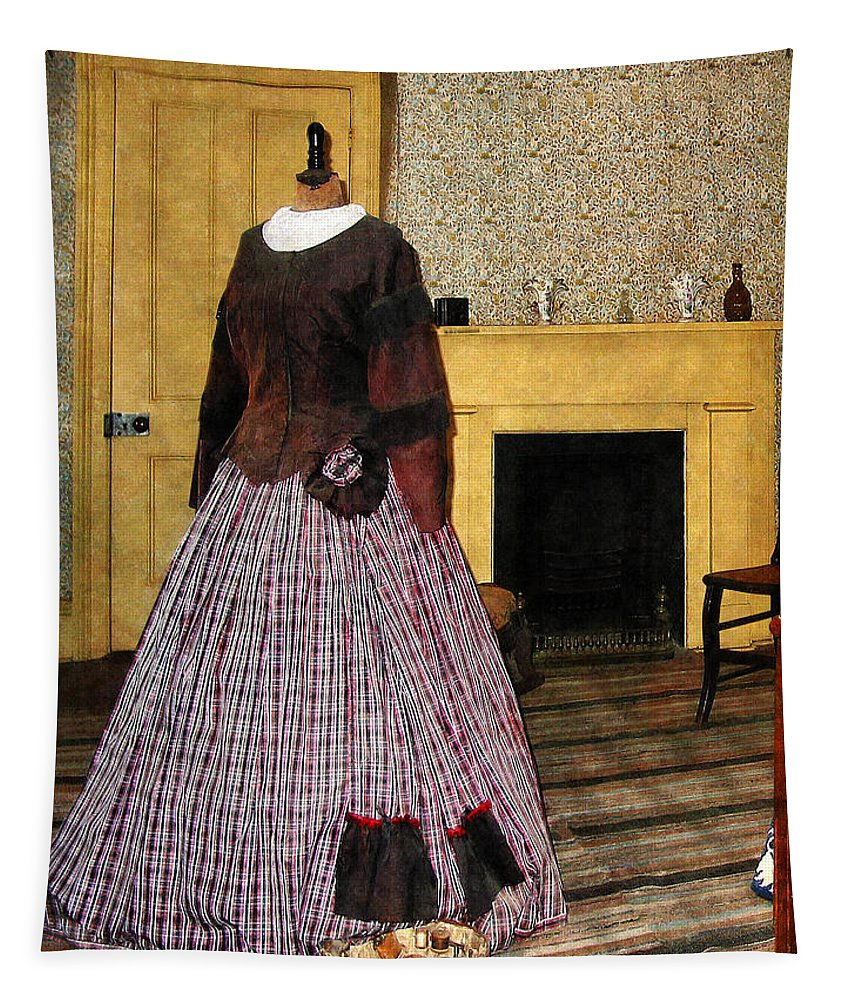 Fashion Tapestry featuring the photograph 19th Century Plaid Dress by Susan Savad