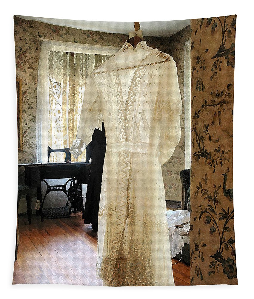 Wedding Dress Tapestry featuring the photograph 19th Century Wedding Dress by Susan Savad