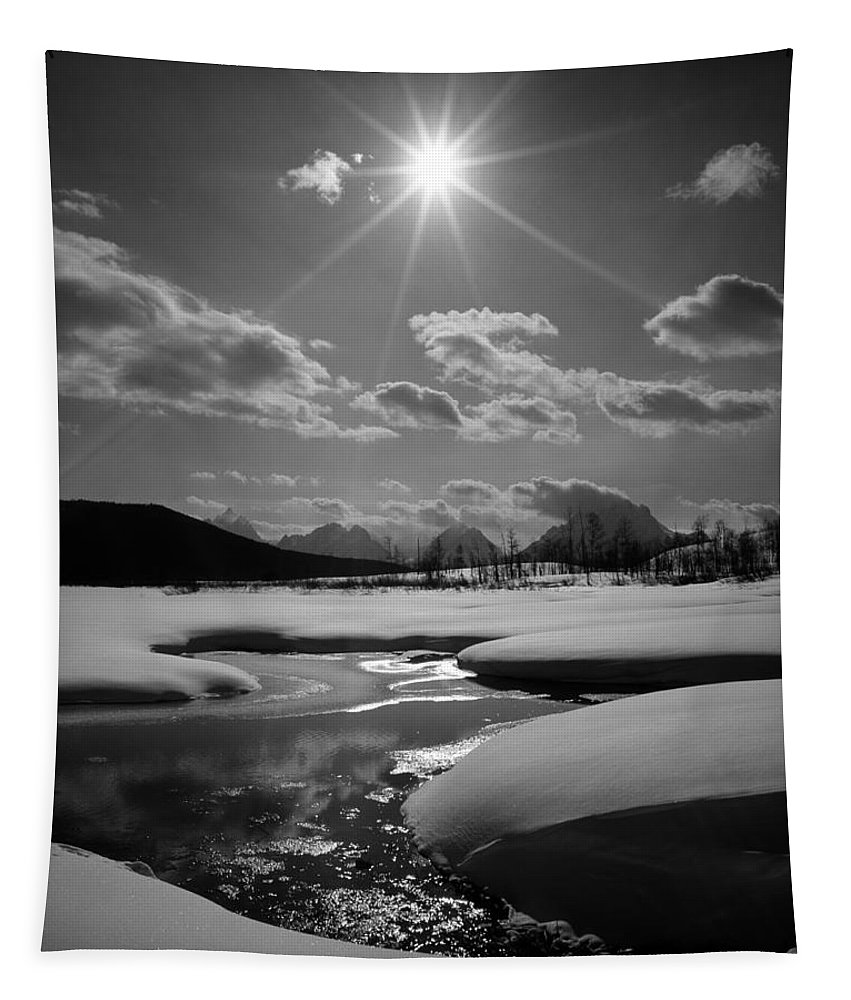 Sunburst Tapestry featuring the photograph 1m9203 Sunburst Over The Snake River, Tetons by Ed Cooper Photography