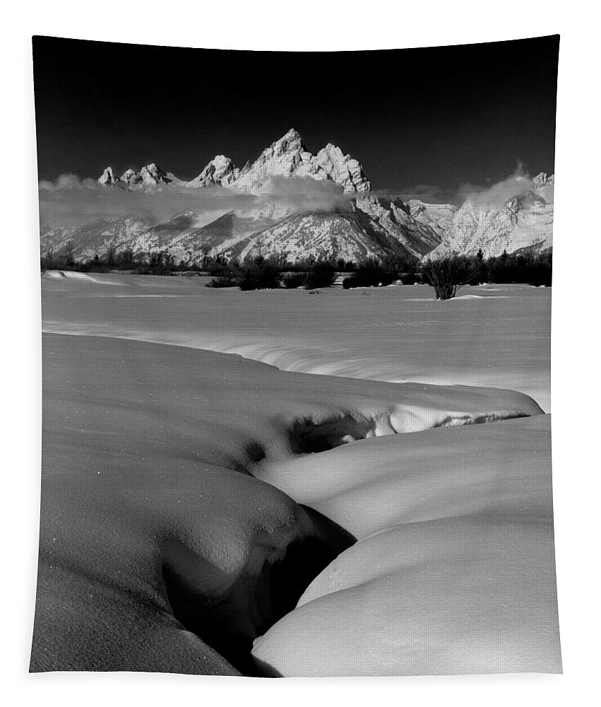 Jackson Hole Tapestry featuring the photograph 1m9303 Bwtetons Seen From Jackson Hole by Ed Cooper Photography