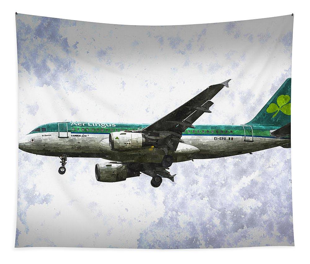 Irish Tapestry featuring the painting Aer Lingus Airbus A319 Art by David Pyatt