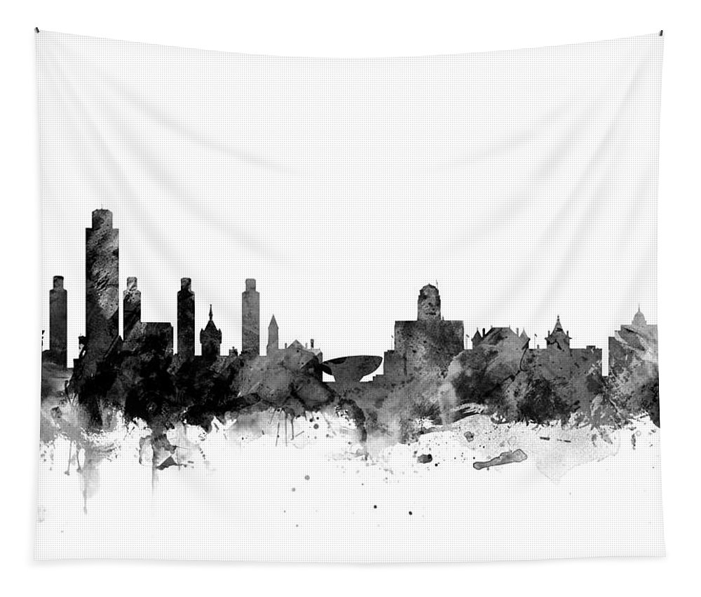 City Tapestry featuring the digital art Albany New York Skyline by Michael Tompsett