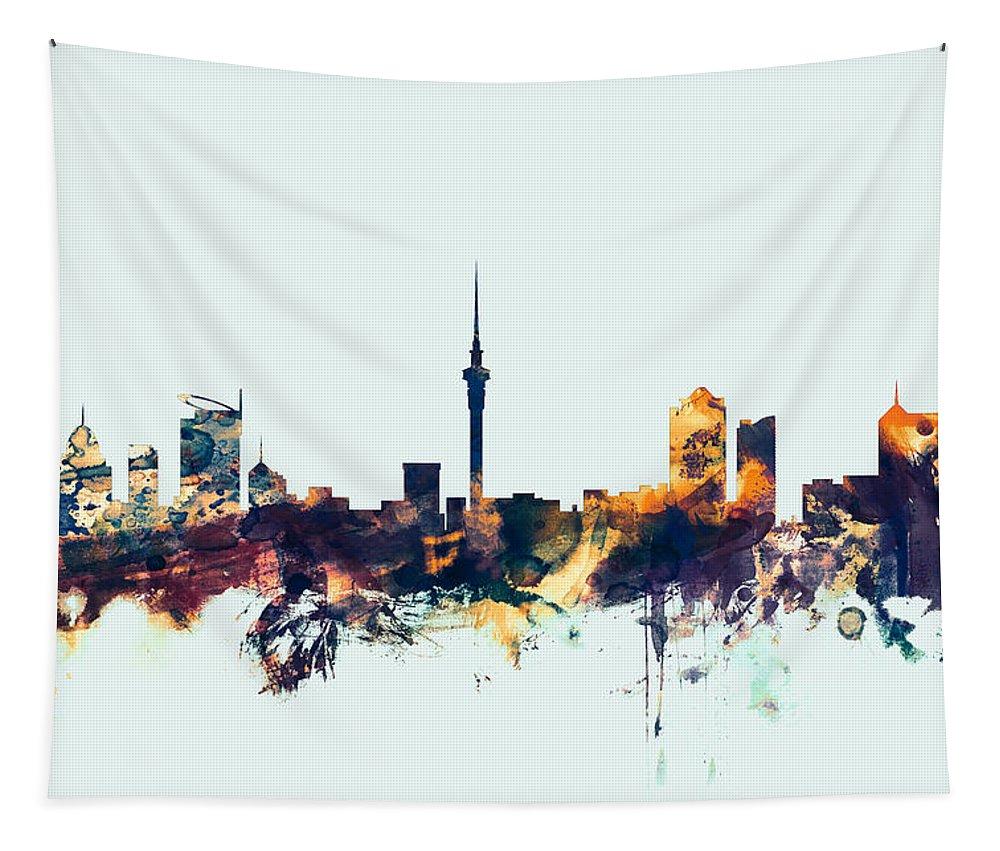 City Skyline Tapestry featuring the digital art Auckland New Zealand Skyline by Michael Tompsett