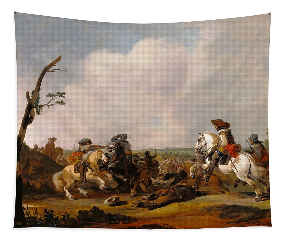 Painting Tapestry featuring the painting Battle Scene by Mountain Dreams