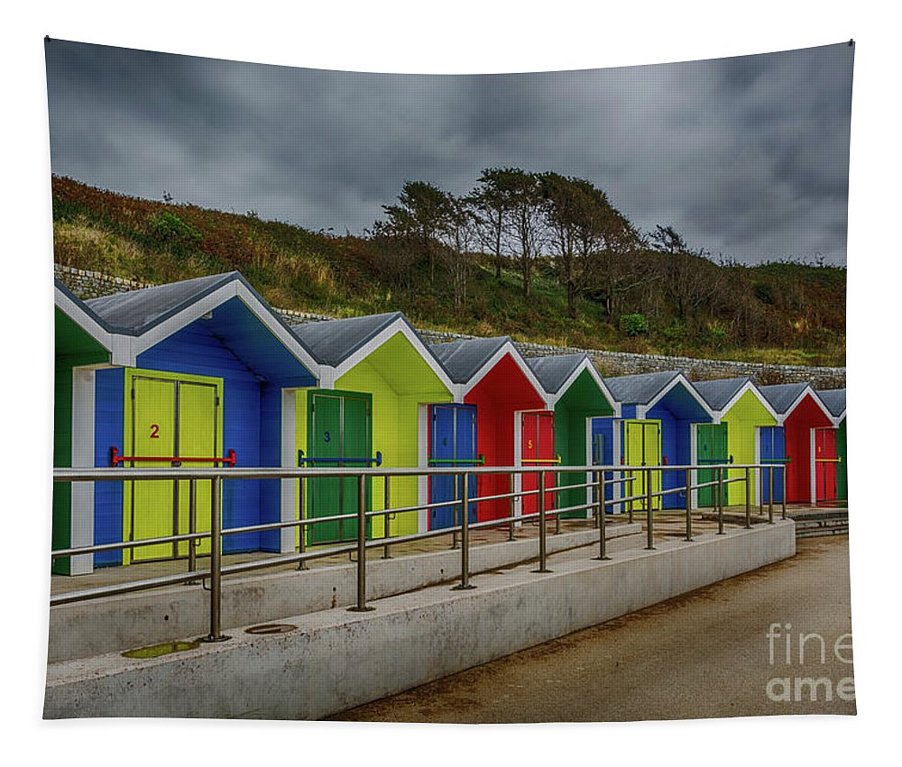 Barry Island Beach Huts Tapestry featuring the photograph Beach Huts 1 by Steve Purnell