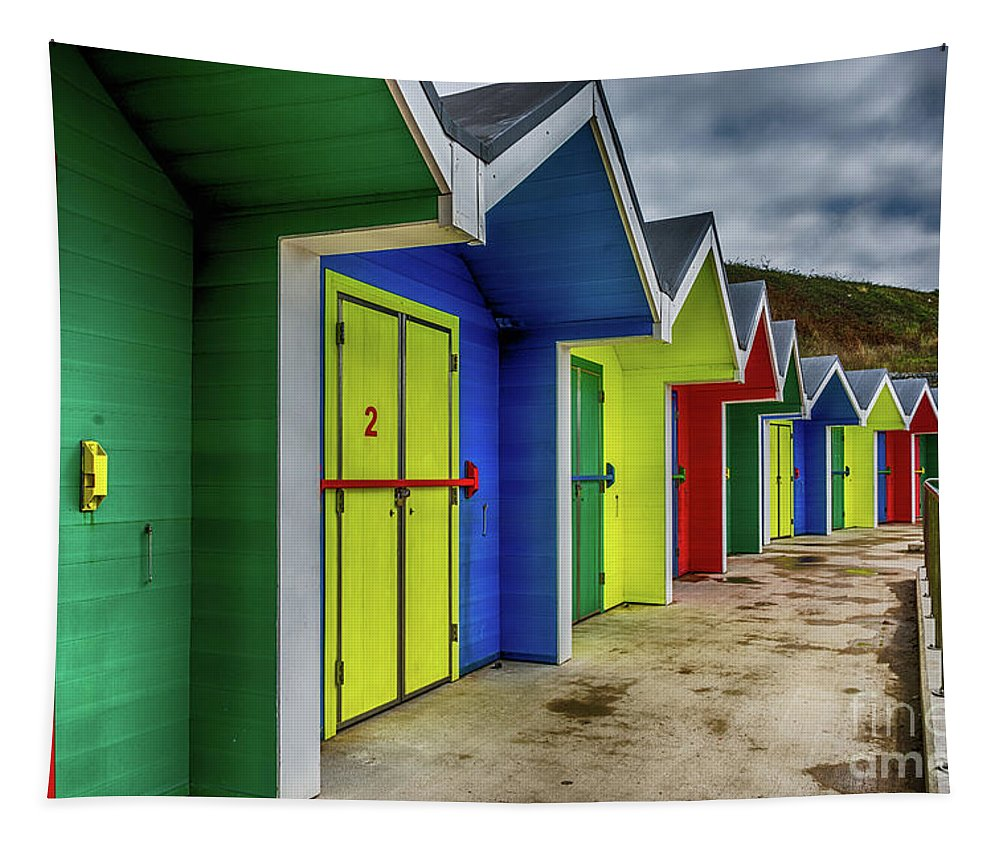 Barry Island Beach Huts Tapestry featuring the photograph Beach Huts 2 by Steve Purnell