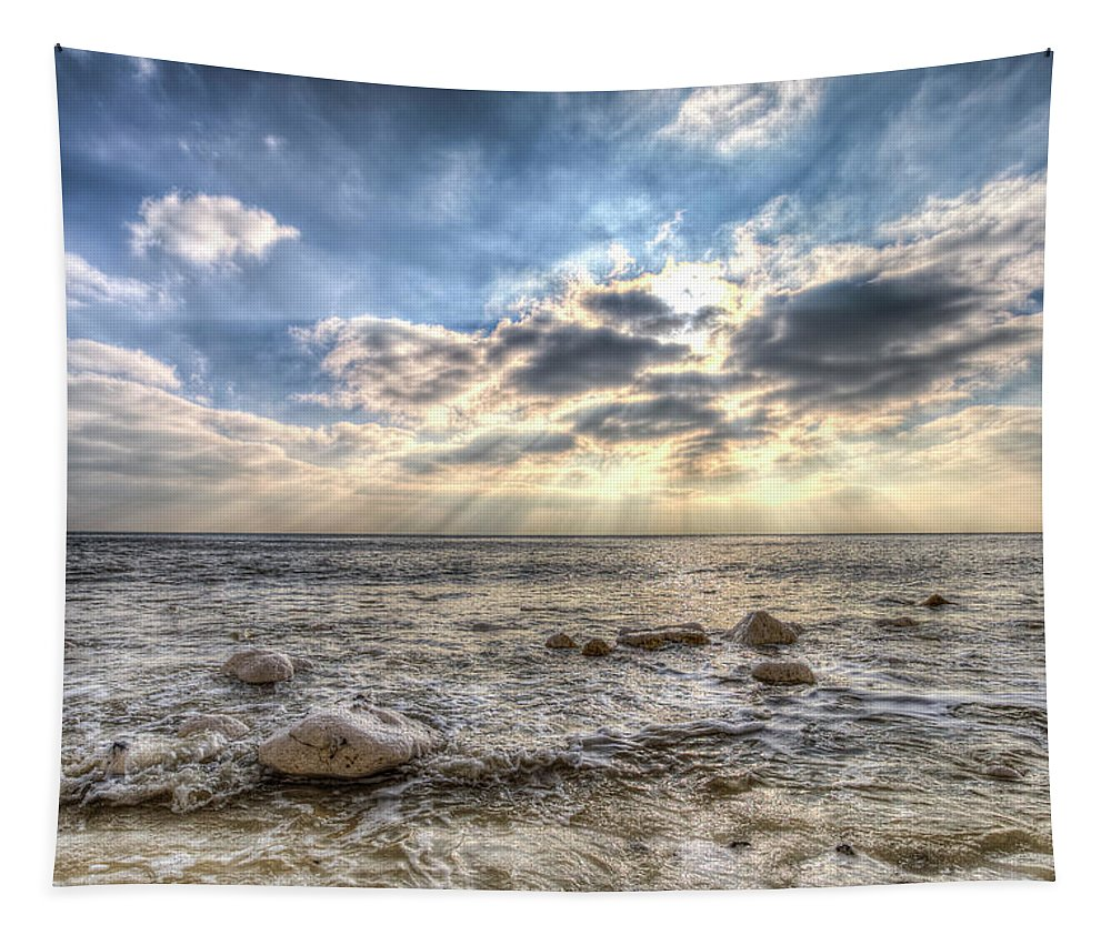Coast Angel Light Tapestry featuring the photograph Birling Gap Angel Light by David Pyatt