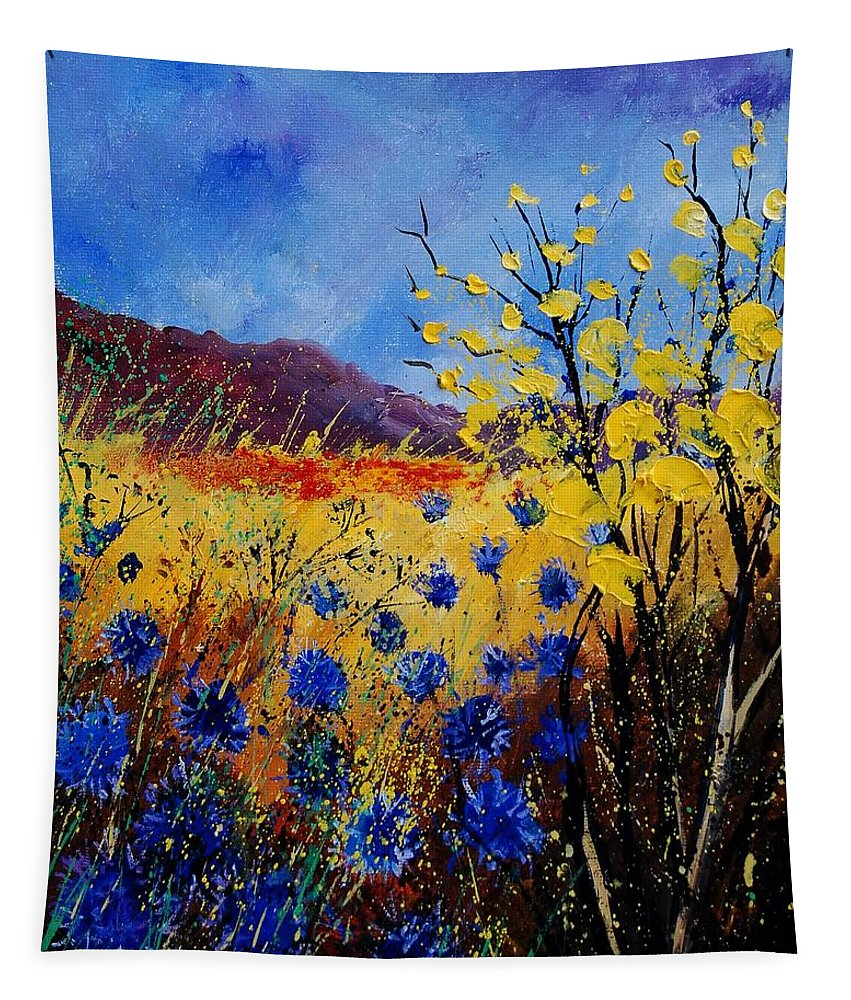 Poppies Flowers Floral Tapestry featuring the painting Blue Cornflowers by Pol Ledent