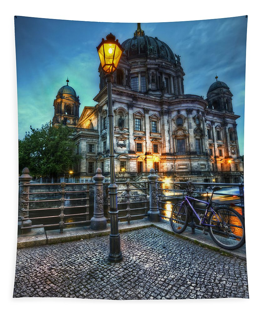 Berlin Tapestry featuring the digital art Blue Hour Dom by Nathan Wright
