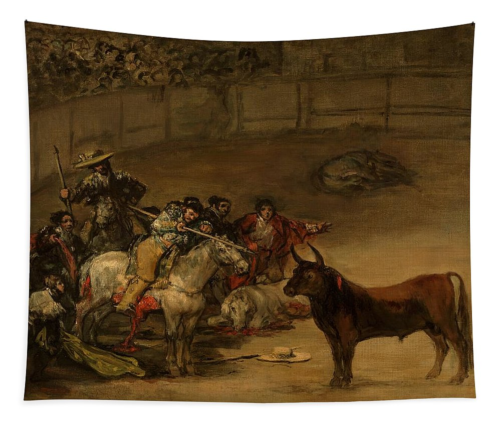 Painting Tapestry featuring the painting Bullfight - Suerte De Varas by Mountain Dreams