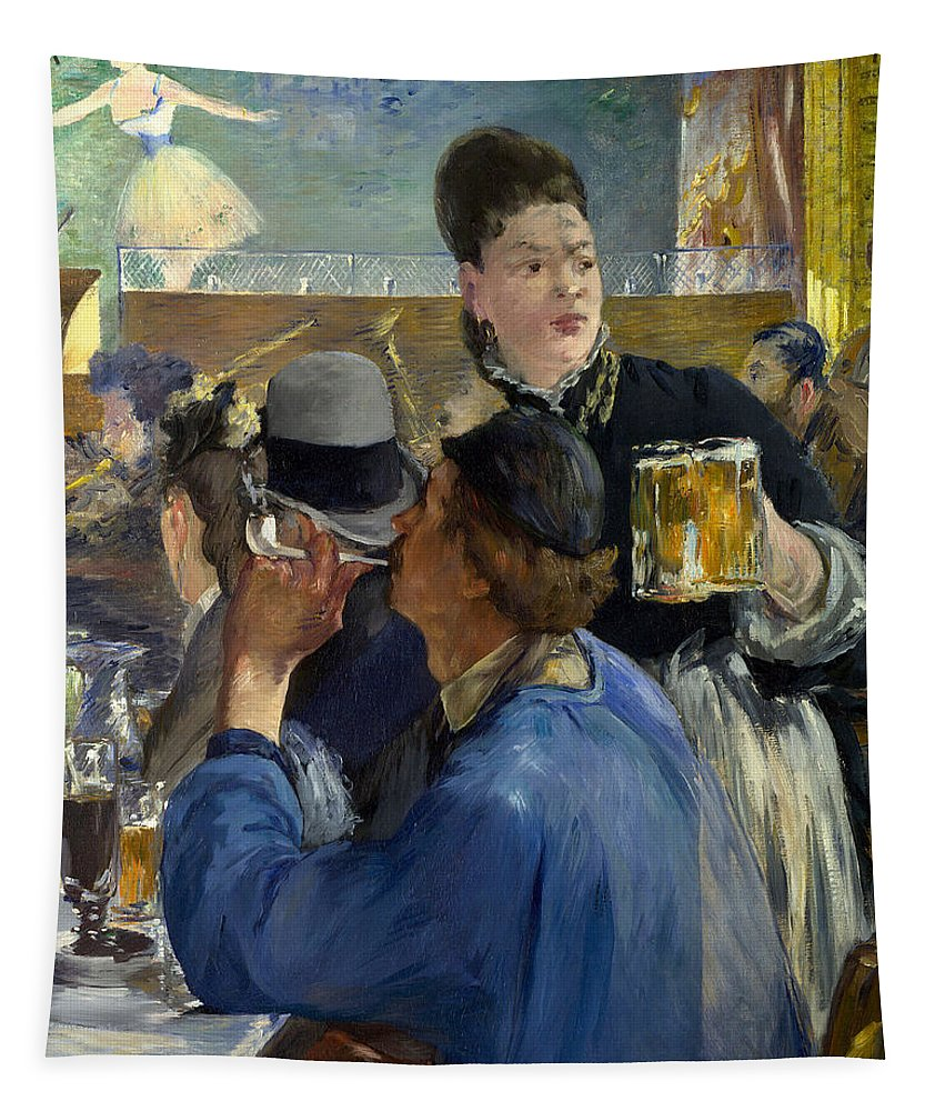 Brasserie De Reichshoffen Tapestry featuring the painting Corner Of A Cafe Concert by Edouard Manet