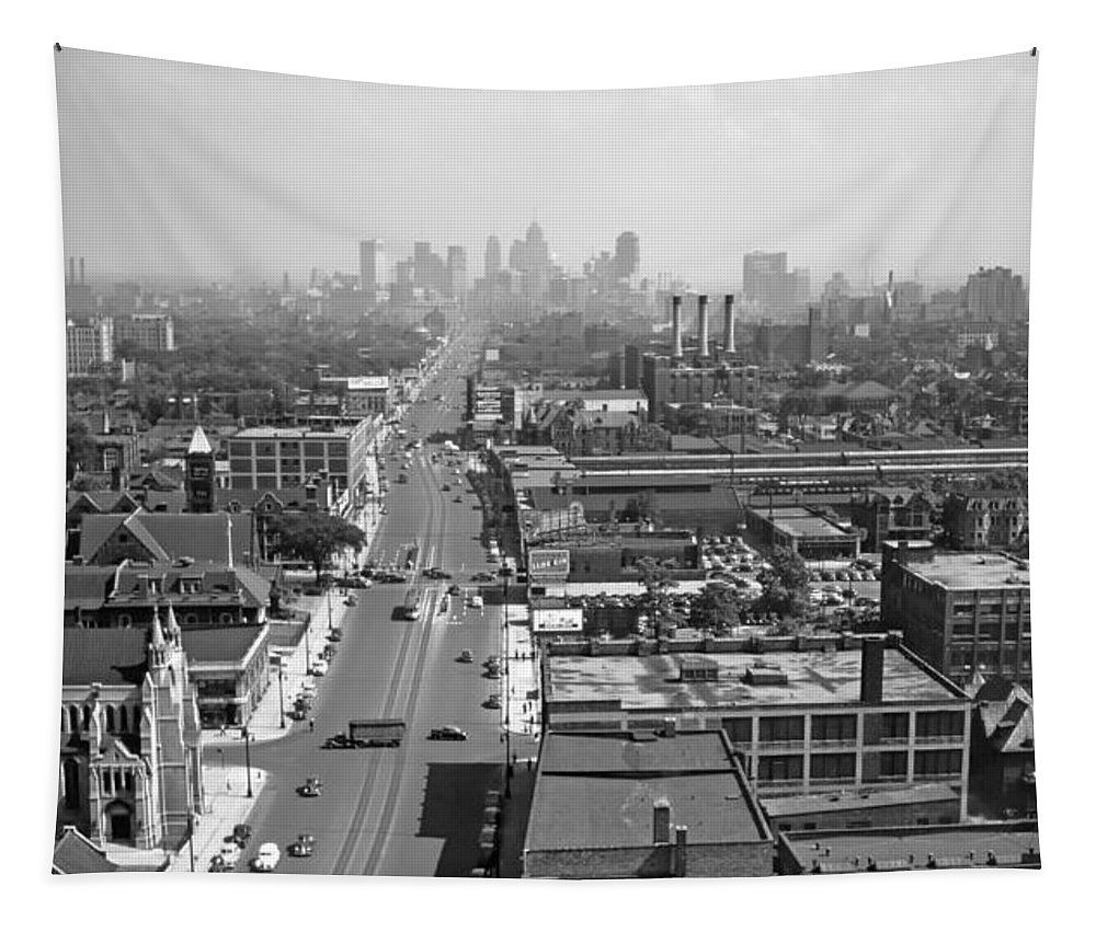 Detroit Tapestry featuring the photograph Detroit 1942 by Mountain Dreams