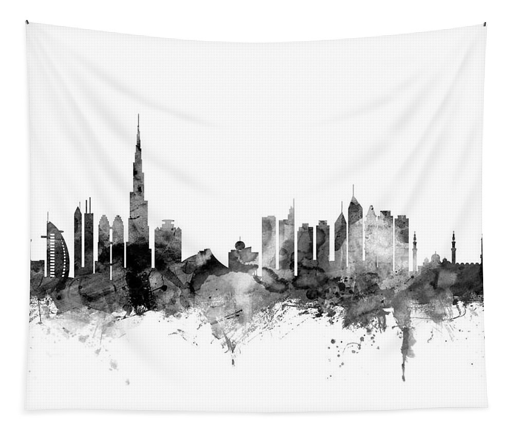Urban Tapestry featuring the digital art Dubai Skyline by Michael Tompsett