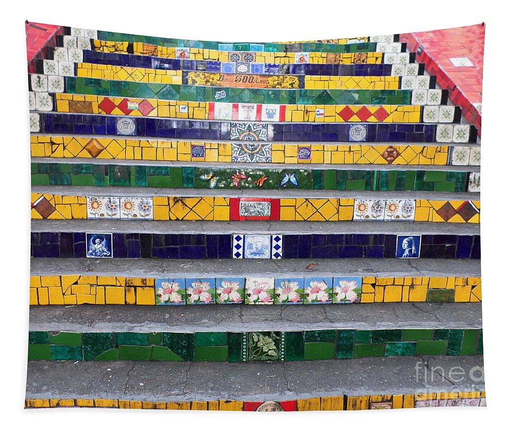 Escadaria Selaron Tapestry featuring the photograph Escadaria Selaron In Rio De Janeiro by Ralf Broskvar