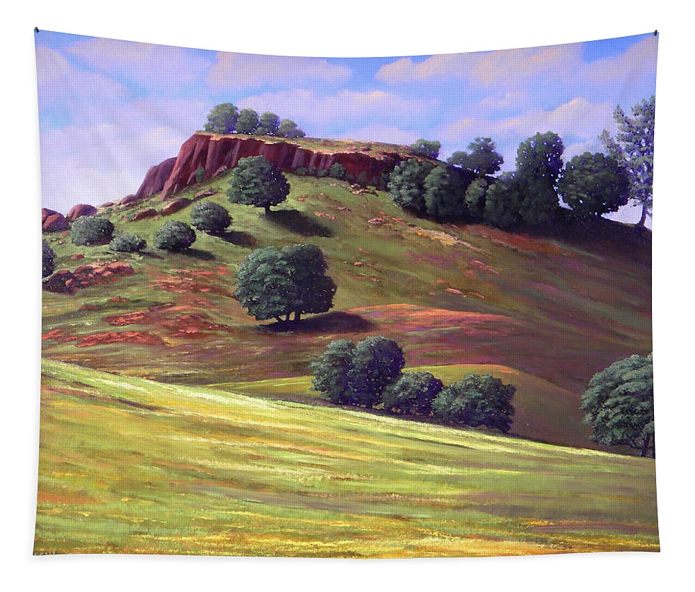 Landscape Tapestry featuring the painting Flowering Meadow by Frank Wilson